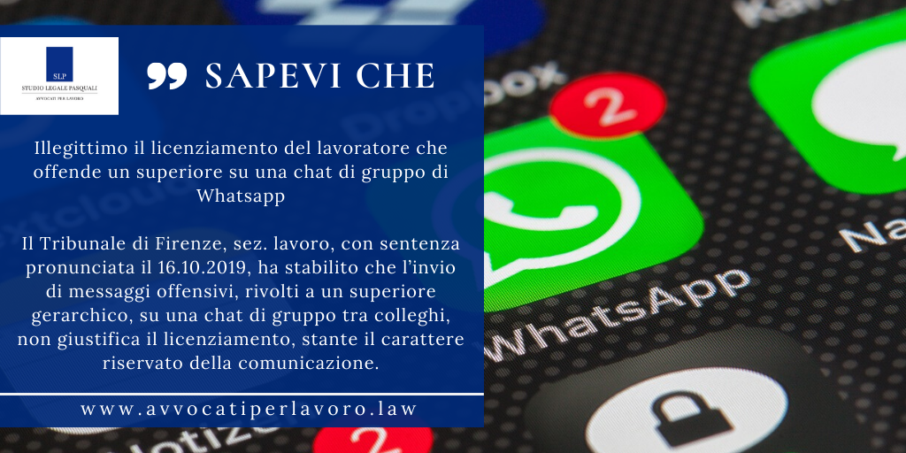 Illegittimo il licenziamento - chat Whatsapp