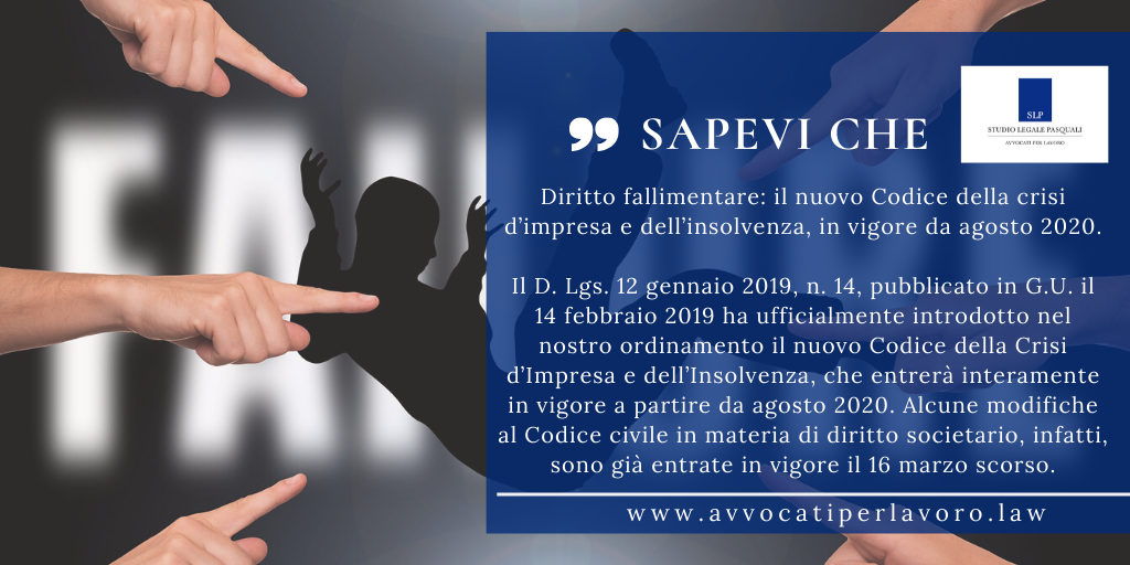 SLP_Diritto fallimentare il nuovo Codice della crisi d'impresa e dell'insolvenza, in vigore da agosto 2020