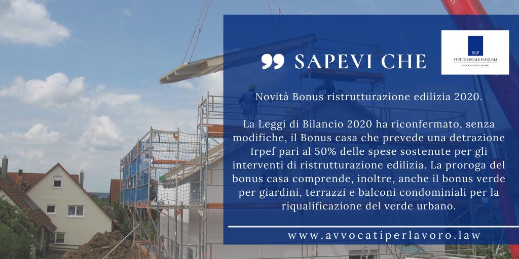 Novità Bonus ristrutturazione edilizia 2020