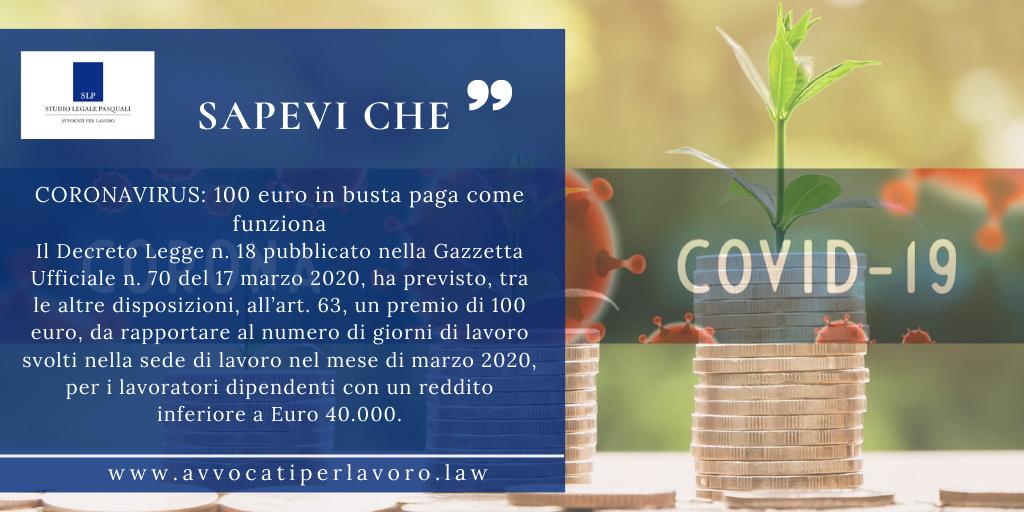 SLP_CORONAVIRUS: 100 euro in busta paga come funziona