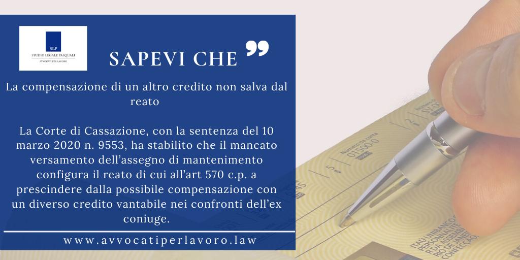 La compensazione di un altro credito non salva dal reato