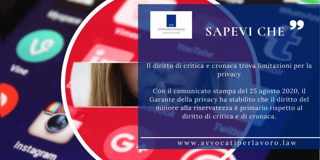 Il diritto di critica e cronaca trova limitazioni per la privacy